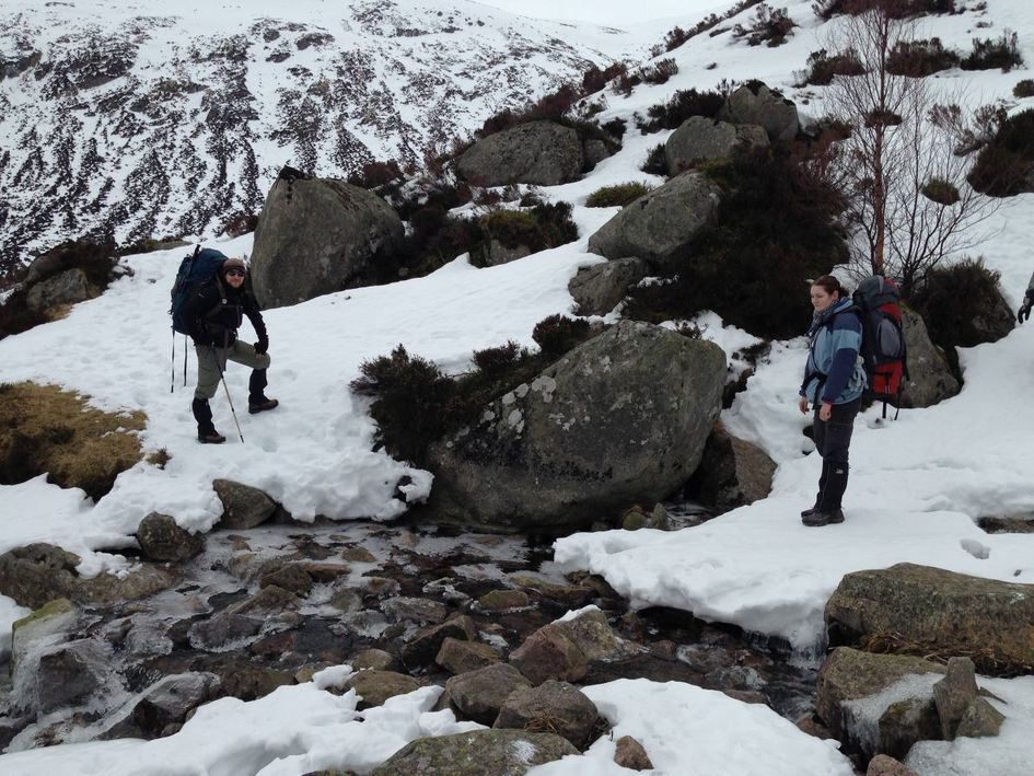 Making our way by a half frozen stream.