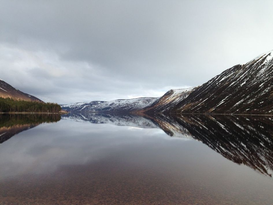 A perfect glassy reflection of Loch Muick