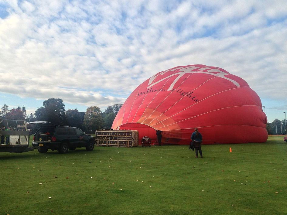 Our hot air balloon slowly filling with air.