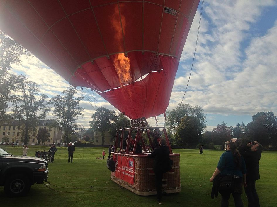 The hot air balloon very nearly ready to lift off