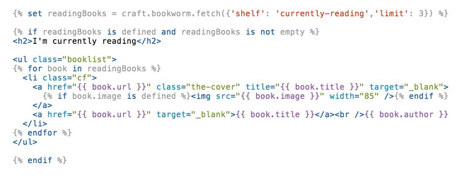 Example code showing how to use the Bookworm plugin in a Craft CMS template.