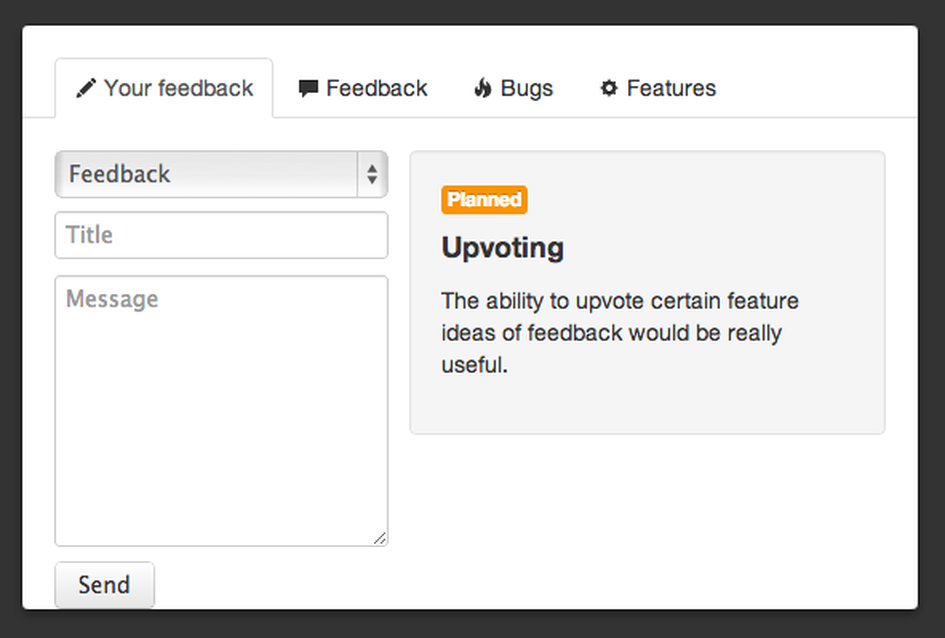 The Open Feedback popup.